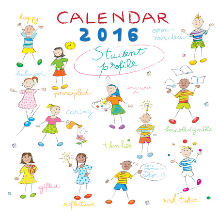 year profile: Calendar cover design for the year 2016 on a whiteboard with the student profile llustrations for international schools Illustration
