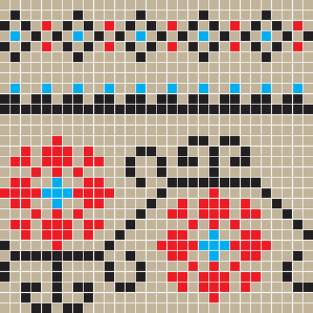 romanian: Freestyle seamless pixel pattern inspired by traditional Romanian motifs