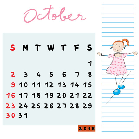 balanced: Hand drawn design of October 2016 calendar with kid illustration, the balanced student profile for international schools