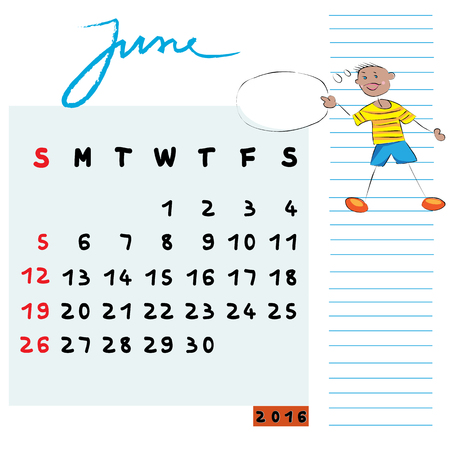 communicator: Hand drawn design of June 2016 calendar with kid illustration, the communicator student profile for international schools