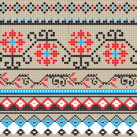 romanian: Freestyle seamless pixel pattern inspired by few traditional Romanian motifs Illustration
