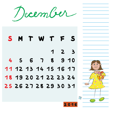 gifted: Hand drawn design of the December 2016 calendar with kid illustration, gifted student profile for schools