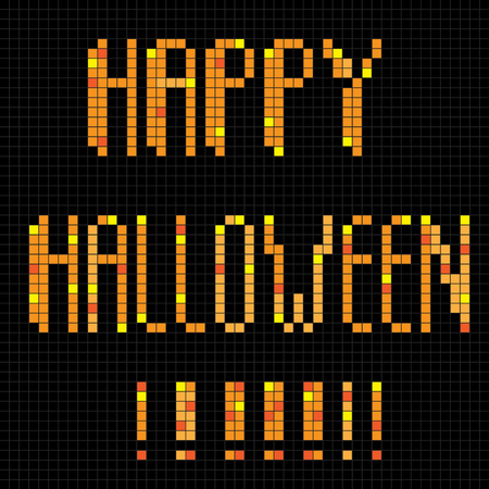 halloween greetings: Halloween greetings card, pixel illustration of a scoreboard composition with digital text