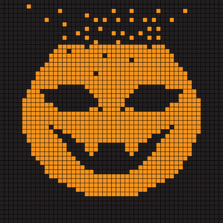 halloween greetings: Halloween greetings card, pixel illustration of a scoreboard composition with digital drawing of a pumpkin head