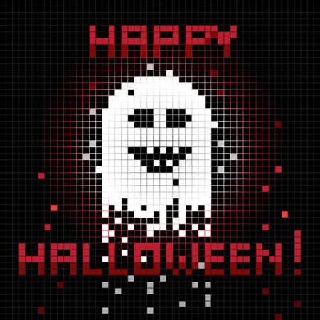 ghost cartoon: Halloween funny greetings card, pixel illustration of a scoreboard composition with digital drawing of a ghost laughing and holiday text