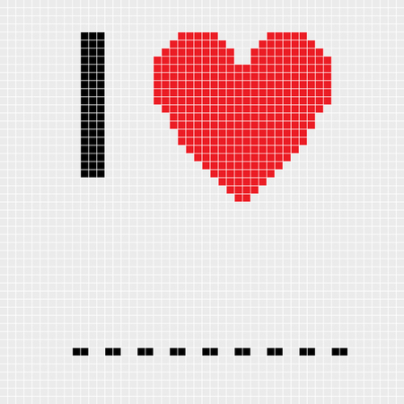 blanks: I love, fill in the blanks card, pixel illustration of a scoreboard composition with digital text and heart shape