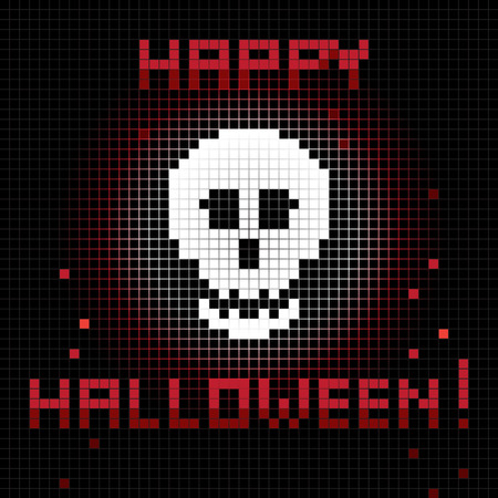halloween greetings: Halloween greetings card, pixel illustration of a scoreboard composition with digital drawing of a skull laughing and holiday text Illustration