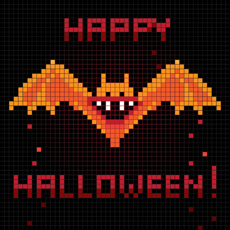 halloween greetings: Halloween greetings card, pixel illustration of a scoreboard composition with digital drawing of a bat laughing and holiday text Illustration