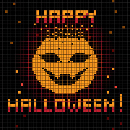 halloween greetings: Halloween greetings card, pixel illustration of a scoreboard composition with digital drawing of a pumpkin laughing and holiday text