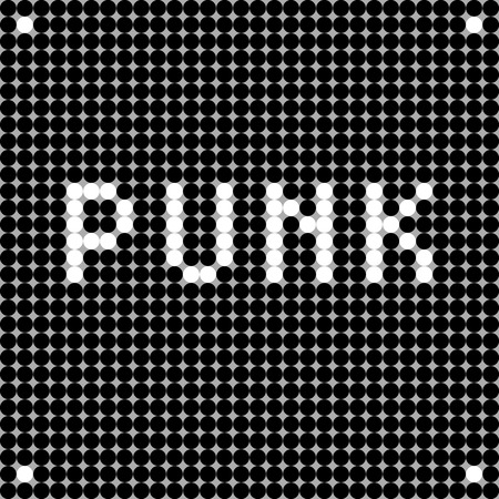 graphic display cards: Punk music card, pixel illustration of a scoreboard composition with digital text made of dots