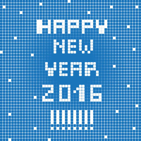 graphic display cards: Happy New Year 2016 greetings card, pixel illustration of a scoreboard composition with digital text