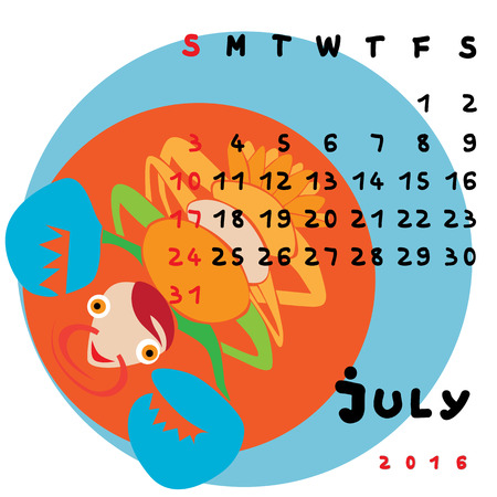 cancer zodiac: Graphic illustration of the calendar of July 2016 with original hand drawn text and colored clip art of Cancer zodiac sign