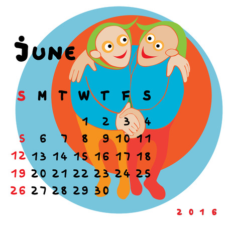 gemini zodiac: Graphic illustration of the calendar of June 2016 with original hand drawn text and colored clip art of Gemini zodiac sign