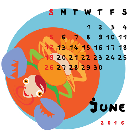 cancer zodiac: Graphic illustration of the calendar of June 2016 with original hand drawn text and colored clip art of Cancer zodiac sign