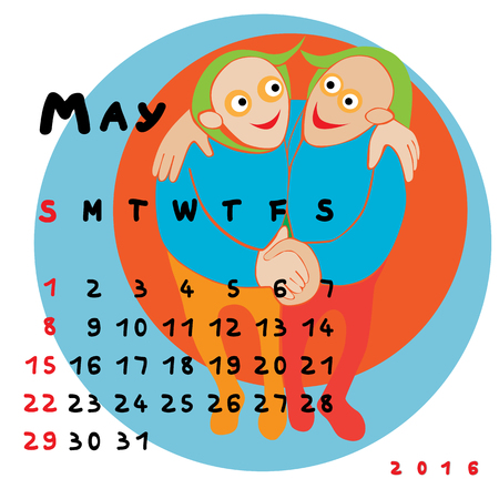 gemini zodiac: Graphic illustration of the calendar of May 2016 with original hand drawn text and colored clip art of Gemini zodiac sign