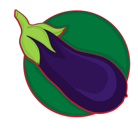 organic fruit: Eggplant clip art, doodle colored illustration on white Illustration