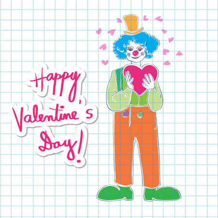 text background: Valentines Day card, hand drawn illustration of a clown wearing a heart and a sticker with vibrant text over math paper