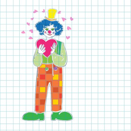 math paper: Valentines Day card, hand drawn illustration of a clown wearing a heart and blank place for your text over math paper