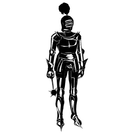 Medieval armour silhouette isolated on white Illustration