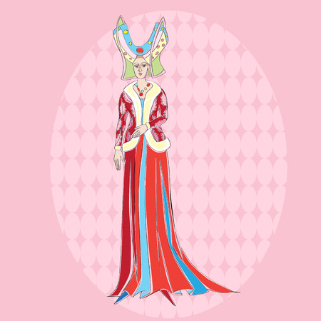 inspired: Fictional character inspired by a medieval costume, hand drawn illustration over a pink background Illustration
