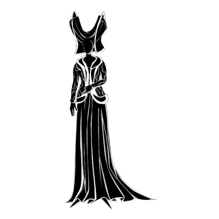 inspired: Illustration of a fictional character with clothes inspired by a medieval costume, black decorated silhouette isolated on white Illustration