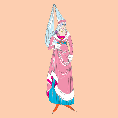Fictional outfit inspired by a medieval costume, hand drawn cartoon illustration over an orange background Illustration