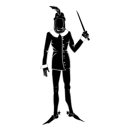 fictional character: Silhouette of a fictional character in a gothic outfit isolated on white