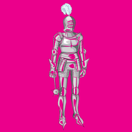 Medieval armour cartoon illustration over a magenta background Illustration