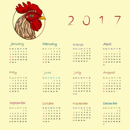 chinesse: Graphic illustration of a full calendar of the year 2017 with original hand drawn colored text and rooster cartoon