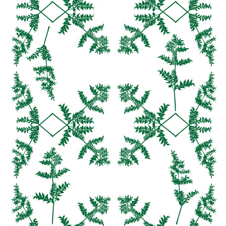 vegetal: Seamless decorative pattern of a green plant over white, ornamental decoration for Christmas