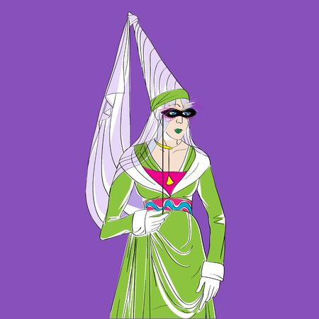 Carnival outfit inspired by a medieval costume, hand drawn cartoon illustration over a purple background, Mardi Gras card