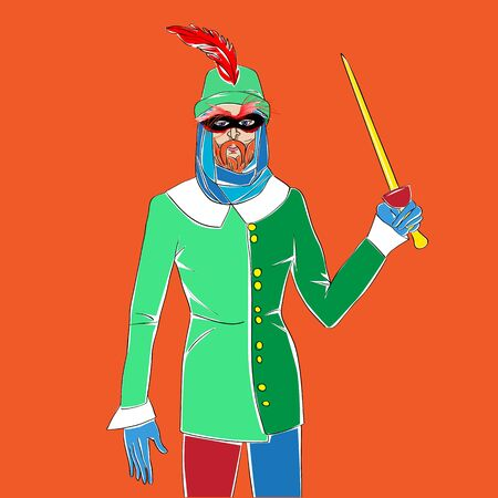 Carnival outfit inspired by a medieval costume, hand drawn cartoon illustration over an orange background, Mardi Gras card