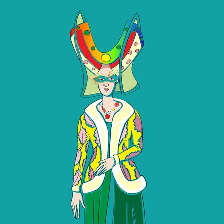 Carnival outfit inspired by a medieval costume, hand drawn cartoon illustration over a turquoise background, Mardi Gras card