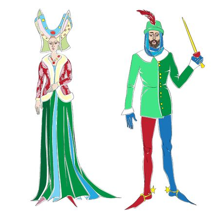 Fictional outfits inspired by medieval costumes, hand drawn cartoon illustrations isolated on white Illustration