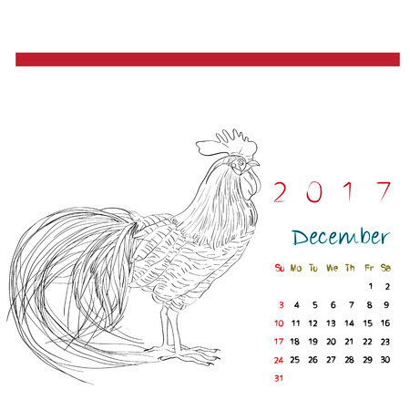 chinesse: December 2017 desk calendar with graphic sketch illustration of a rooster over white, coloring page Illustration
