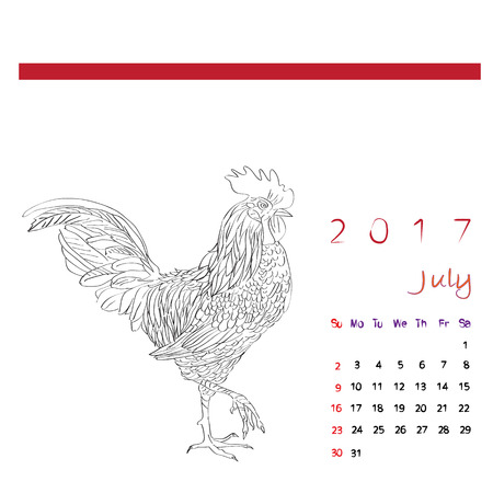 chinesse: July 2017 desk calendar with graphic sketch illustration of a rooster over white, coloring page Illustration