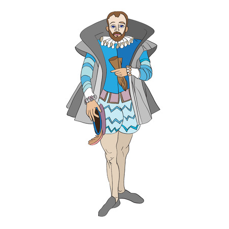 Fictional outfit inspired by a Renaissance costume, hand drawn cartoon illustration isolated on white