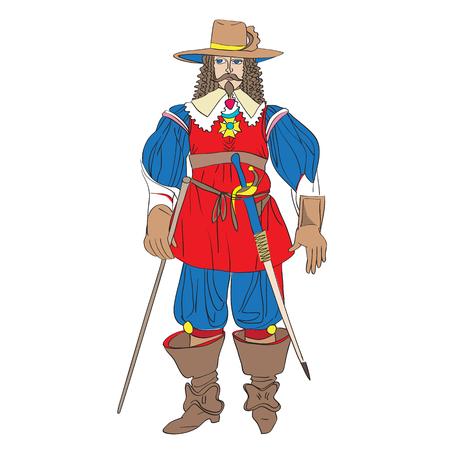 mosquetero: traje de mosquetero de ficción inspirada en un traje del renacimiento francés, ilustraciones de dibujos animados dibujados a mano aislado en blanco Vectores