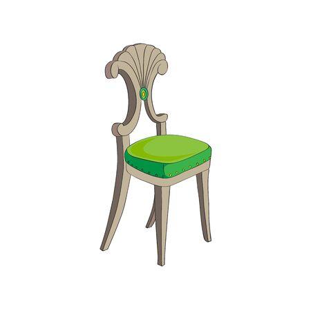 Illustration after a hand drawn sketch representing a Biedermeier chair