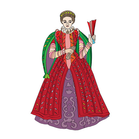 inspired: Fictional outfit for women inspired by a Renaissance costume, hand drawn cartoon illustration isolated on white