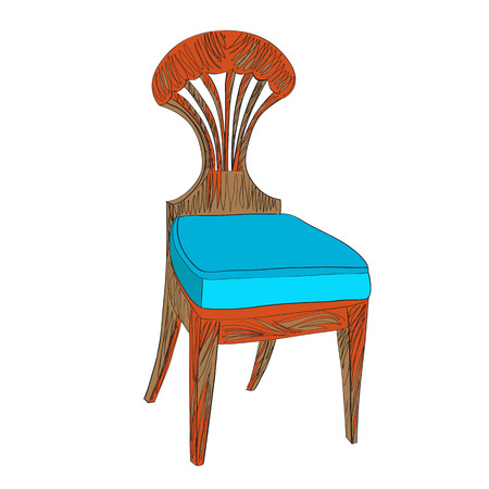 Illustration after a hand drawn sketch representing a Biedermeier chair