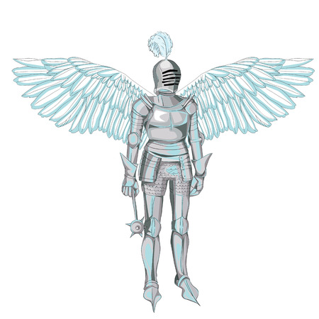 Hand drawn angel in armour, illustration isolated on white