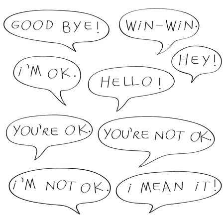 Speech bubbles with original childish text, doodles isolated on white Illustration