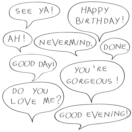 dada: Speech bubbles with original childish text, doodles isolated on white Illustration