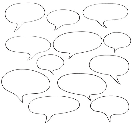 blanks: Comics speech bubbles isolated on white, fill in the blanks elements