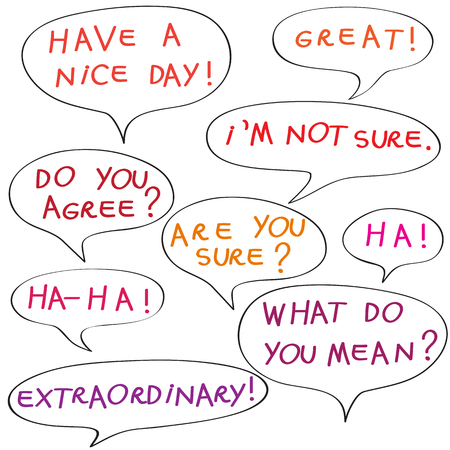 Speech bubbles with original childish text, color doodles isolated on white