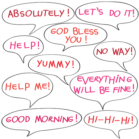 Speech bubbles with original childish text, colored doodles isolated on white