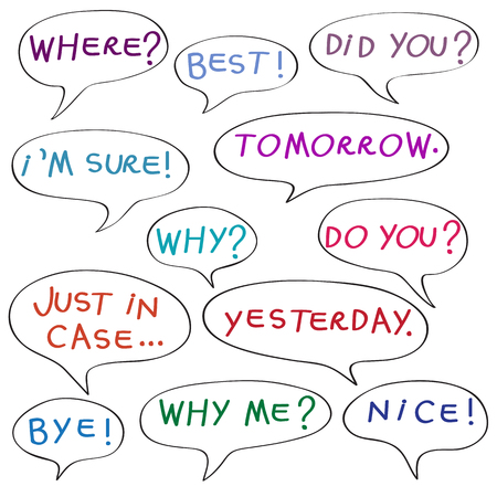 dada: Speech bubbles with original childish text, color doodles isolated on white