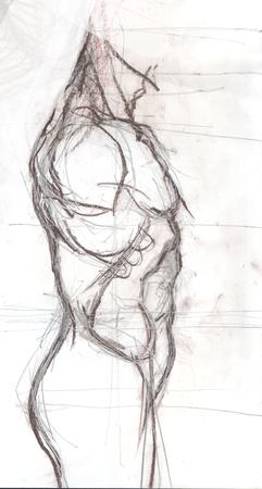 Dé la ilustración exhausta de un tronco de un hombre, bosquejo artístico original sobre blanco Foto de archivo - 78603952