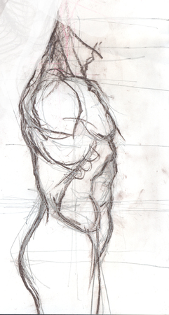 Illustrazione disegnata a mano di un tronco di un uomo, schizzo artistico originale sopra bianco Archivio Fotografico - 78603952